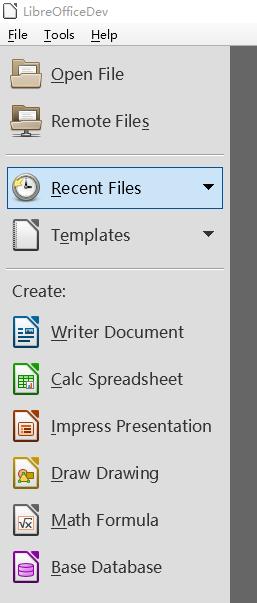 LibreOffice 的起始中心